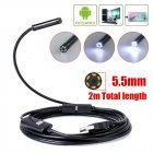USB Endoscope Inspection Camera 7mm Android Borescope Inspection Waterproof HD Camera  black