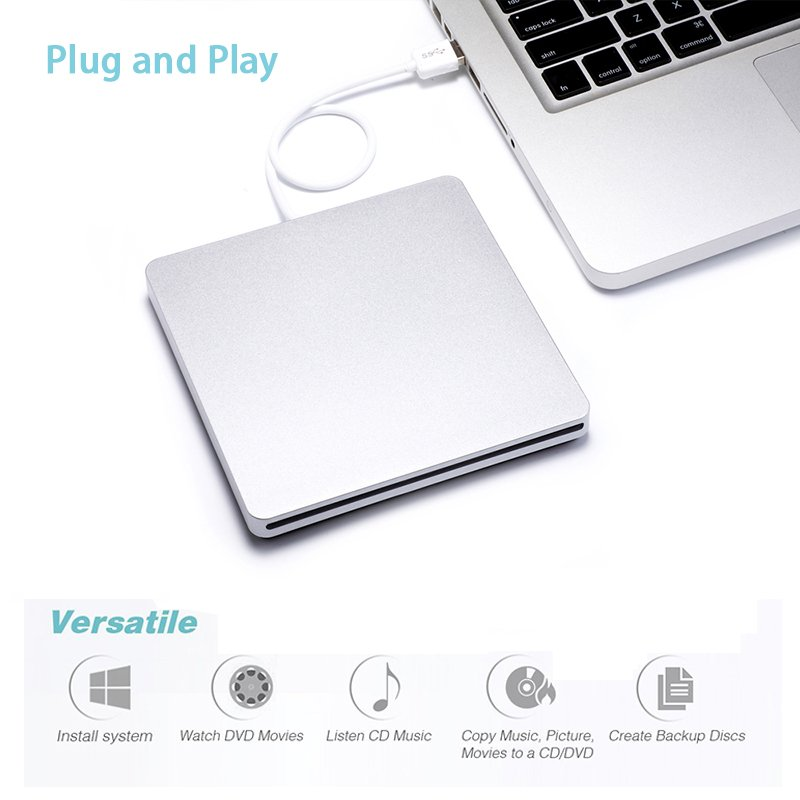 USB External Slot in DVD CD Drive Burner for Apple MacBook Air Pro  Silver