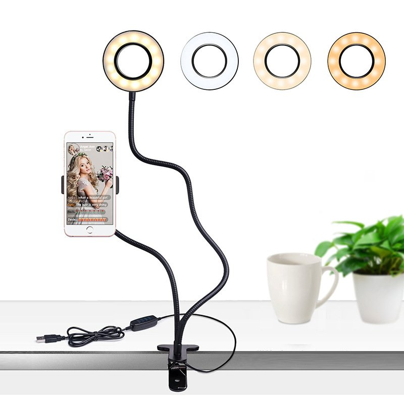 USB LED Live Streaming Supplement Light Cell Phone Holder Beauty Lamp with Adjustable 3 Color Modes Selfie Light Stand  black