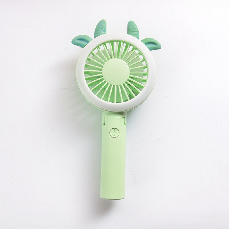 USB Mini Fan Cartoon Handheld Electric Creative USB Charging Fan green horn tips_21.*9cm