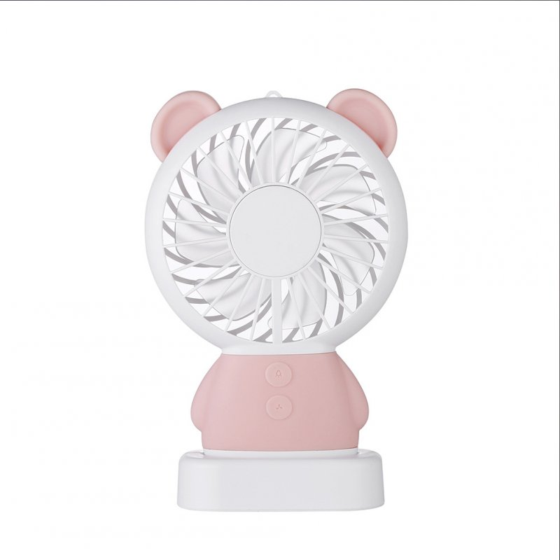 USB Rechargeable Handheld Cute Mini Fan with Colorful Light for Student pink