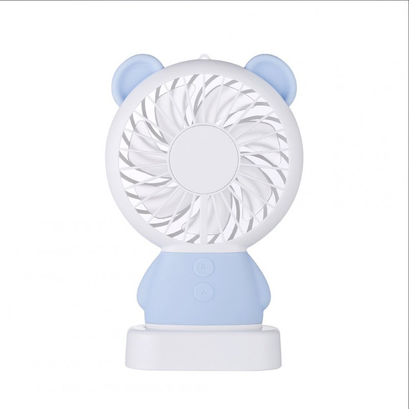USB Rechargeable Handheld Cute Mini Fan with Colorful Light for Student blue