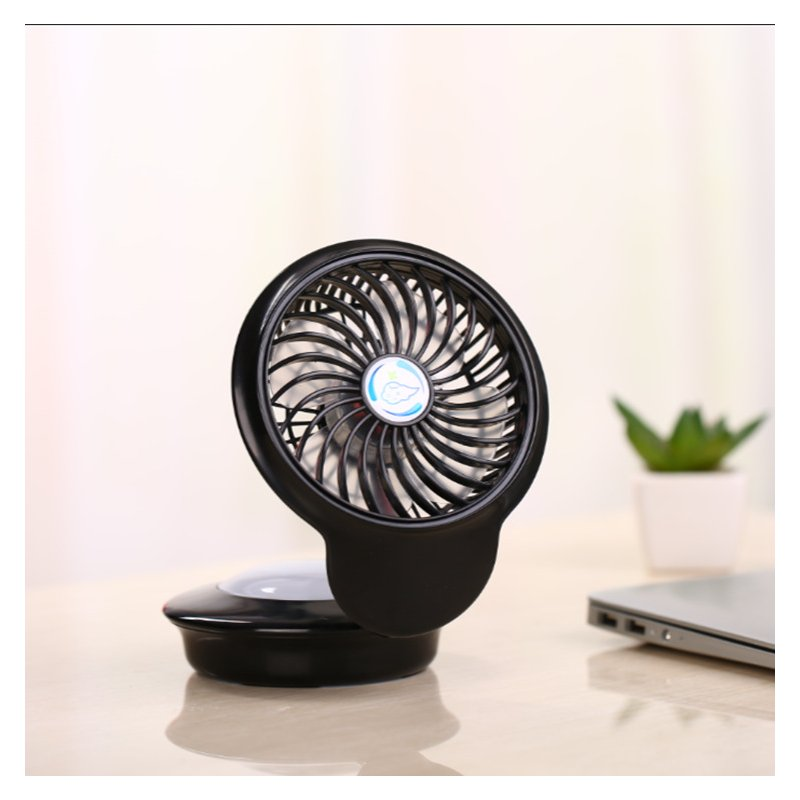 USB Rechargeable Mini Fan with 7 Colors Change Night Light for Home Tabletop black