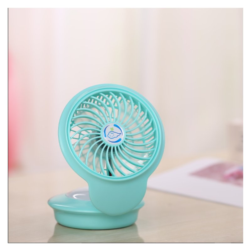 USB Rechargeable Mini Fan with 7 Colors Change Night Light for Home Tabletop blue