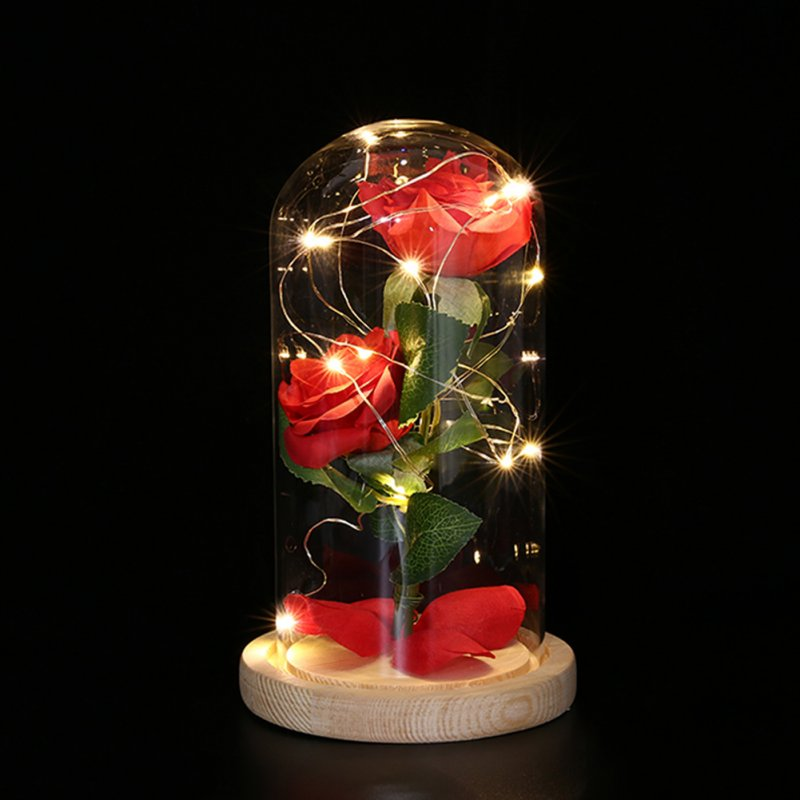 USB Simulate Rose with Glass Shade Table Top LED Night Light for Valentine Decor Beige base