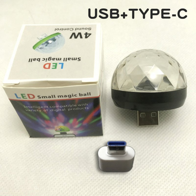 USB Voice Control Magic Ball Lamp with Adapter for Disco Stage Decor black