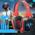 USB Wired Gaming Headphone LED RGB Lighting Over-Ear Gamer Headset with Microphone for PC Laptop Xbox One PS4 Illuminated black and red