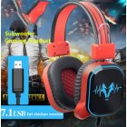 USB Wired Gaming Headphone LED RGB Lighting Over-Ear Gamer Headset with Microphone for PC Laptop Xbox One PS4 USB interface light version black red