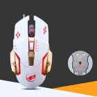 USB Wired Optical Mechanical Mouse Ergonomics Sensitive Gaming Mouse metal bottom white