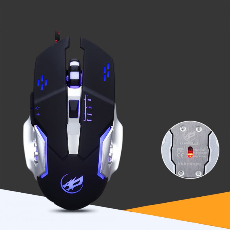 USB Wired Optical Mechanical Mouse Ergonomics Sensitive Gaming Mouse metal bottom black