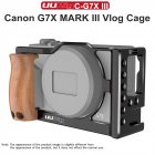 UURig C-G7XMarkIII Cage Rig Frame Case Stabilizer With Wooden Handle Hand Grip Cold Shoe Mount for Canon G7X Mark III Camera Vlog Extension Accessories black