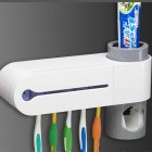 UV Light Toothbrush Sterilizer Holder Automatic Toothpaste Dispenser Ultraviolet Bathroom Set White 23   5 6   13cm