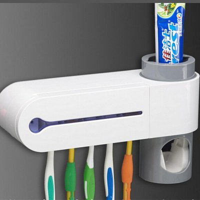 UV Light Toothbrush Sterilizer Holder Automatic Toothpaste Dispenser Ultraviolet Bathroom Set White_23 * 5.6 * 13cm