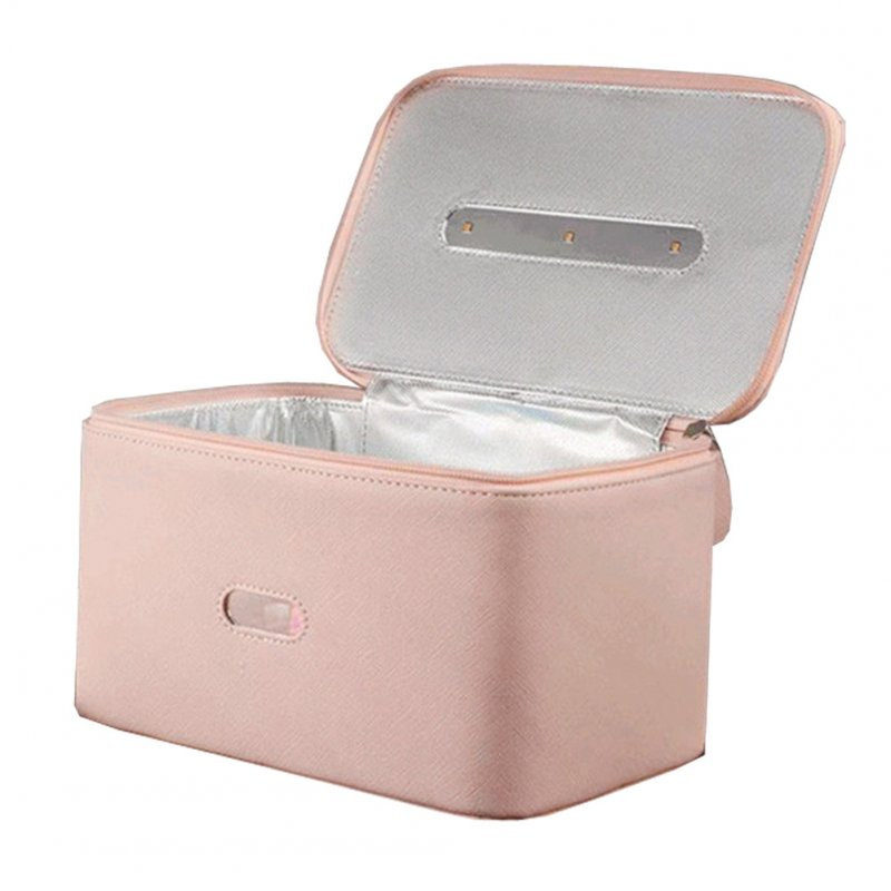 UVC Sterilization Multifunctional Storage Bag PU Leather Case for Underwear Phone Key Toy Pink