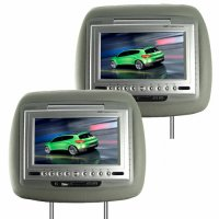 7 Inch LCD Car Headrest DVD Player + FM Transmitter -Pair -Grey