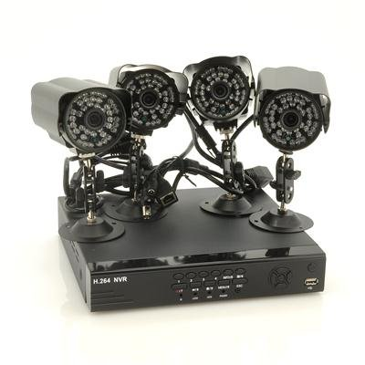 4 Chanel NVR Set w/ 4 Outdoor IP Cameras