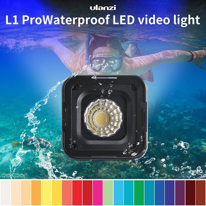 Ulanzi L1 Pro Waterproof Dimmable Mini LED Light for Gopro DSLR Dji Gimbal Versatile Mini Light Camping Cycling Lighting black