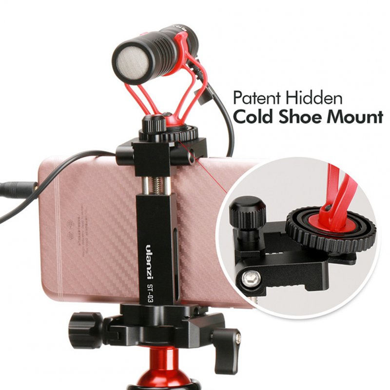 Ulanzi Metal Intelligent Phone Tripod Mount Cold Shoe Mount Stand red