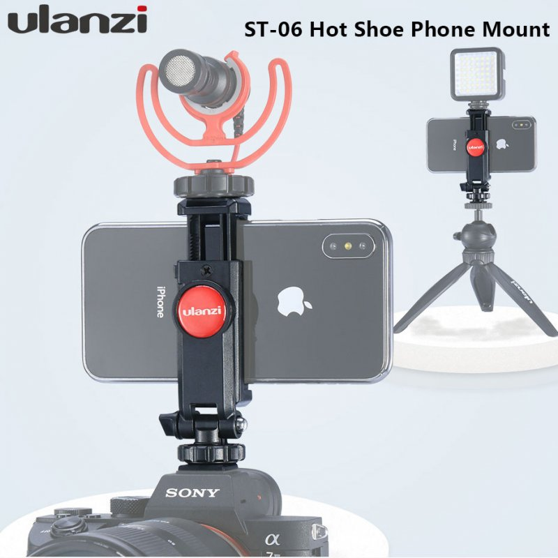 Ulanzi Vertical Shooting Phone Mount Holder Adjustable Mount with Cold Shoe Magic Arm for LED Light Microphone black