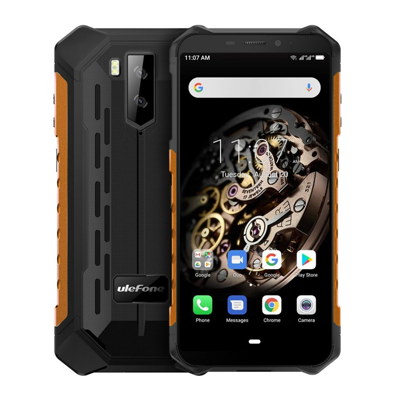 Ulefone Armor X5 MT6763 Octa core ip68 Rugged Waterproof Smartphone Android 9.0 Cell Phone 3GB 32GB NFC 4G LTE Mobile Phone Orange_Non-European