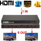 Ultra HD 4K HDMI Splitter 1 In 8 Out 8 Port Repeater Amplifier Hub 3D 1080p  US plug
