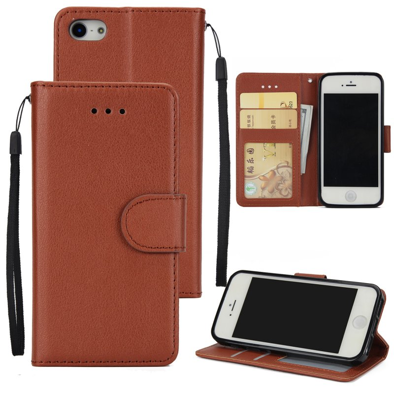 Ultra Slim PU Full Protective Cover Non-slip Shockproof Cell Phone Case with Card Slot for iPhone 5G/5S/5SE brown