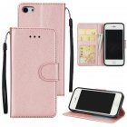 Ultra Slim PU Full Protective Cover Non-slip Shockproof Cell Phone Case with Card Slot for iPhone 5G/5S/5SE Rose gold