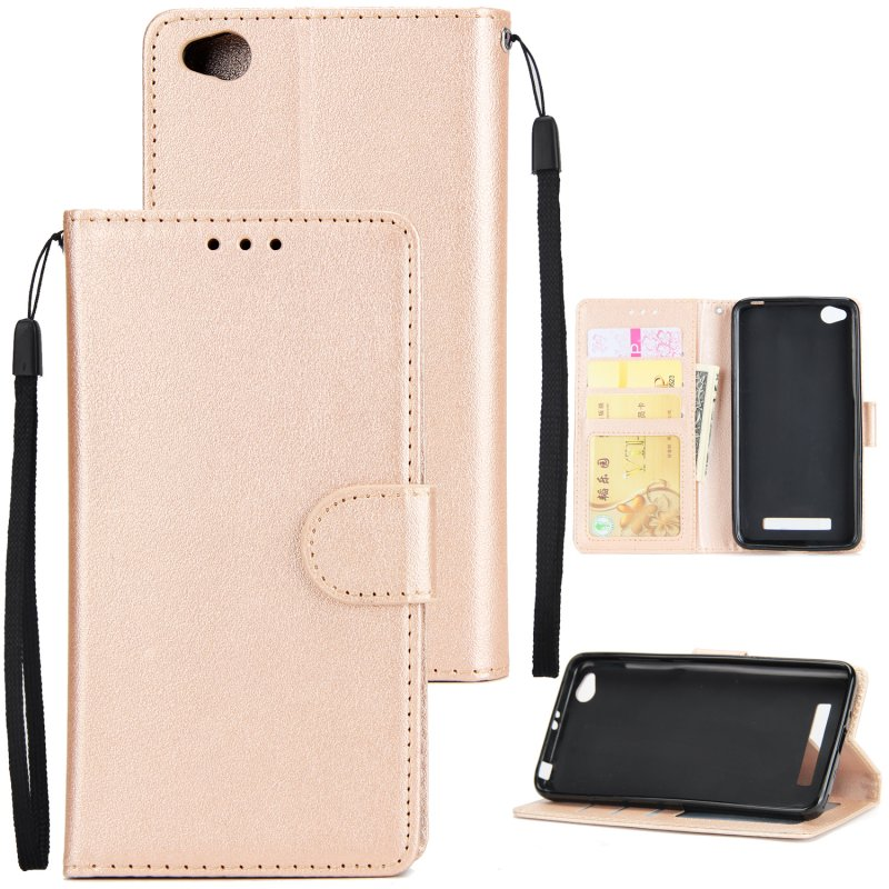 Ultra Slim Shockproof Full Protective Case with Card Wallet Slot for Xiaomi Redmi 4A Golden