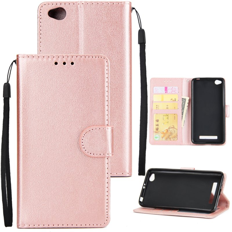 Ultra Slim Shockproof Full Protective Case with Card Wallet Slot for Xiaomi Redmi 4A Rose gold