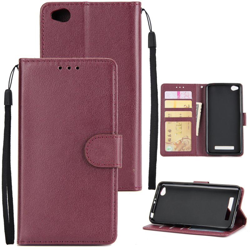 Ultra Slim Shockproof Full Protective Case with Card Wallet Slot for Xiaomi Redmi 5A Red wine