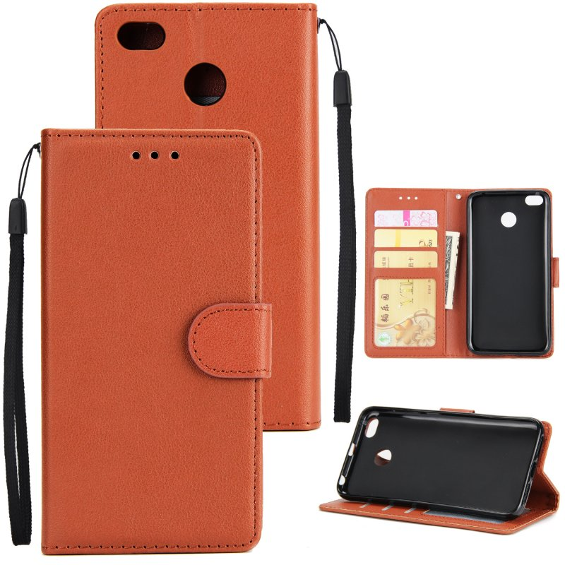 Ultra Slim Shockproof Full Protective Case with Card Wallet Slot for Xiaomi Redmi 4X brown