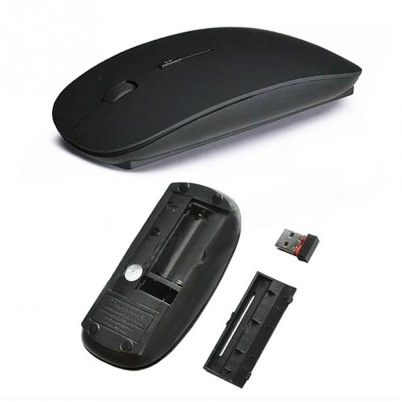 Ultra Thin 2.4G Optical Wireless Mouse USB Receiver Air Mouse for Laptop Notebook black