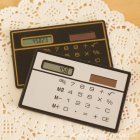 Ultra Thin Solar Power Calculator Credit Card Design Portable Mini Calculator for Business School Silver