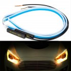 Ultrafine Cars LED Daytime Running Lights White Turn Signal Yellow Guide Strip for Headlight 30CM white yellow