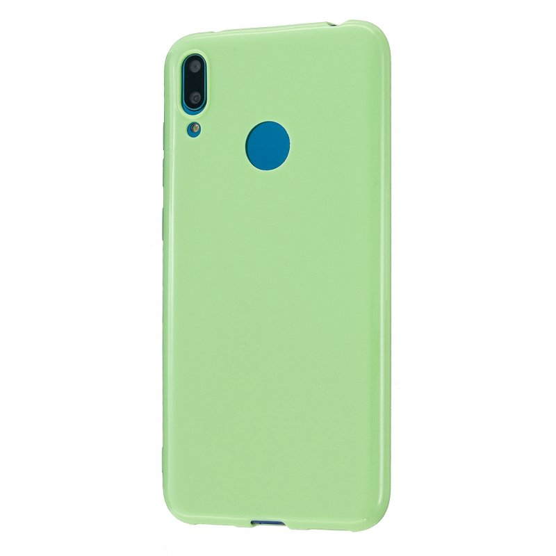 For HUAWEI Y6/Y7 Prime 2019 Glossy TPU Phone Case Mobile Phone Soft Cover Full Body Protection Fluorescent green