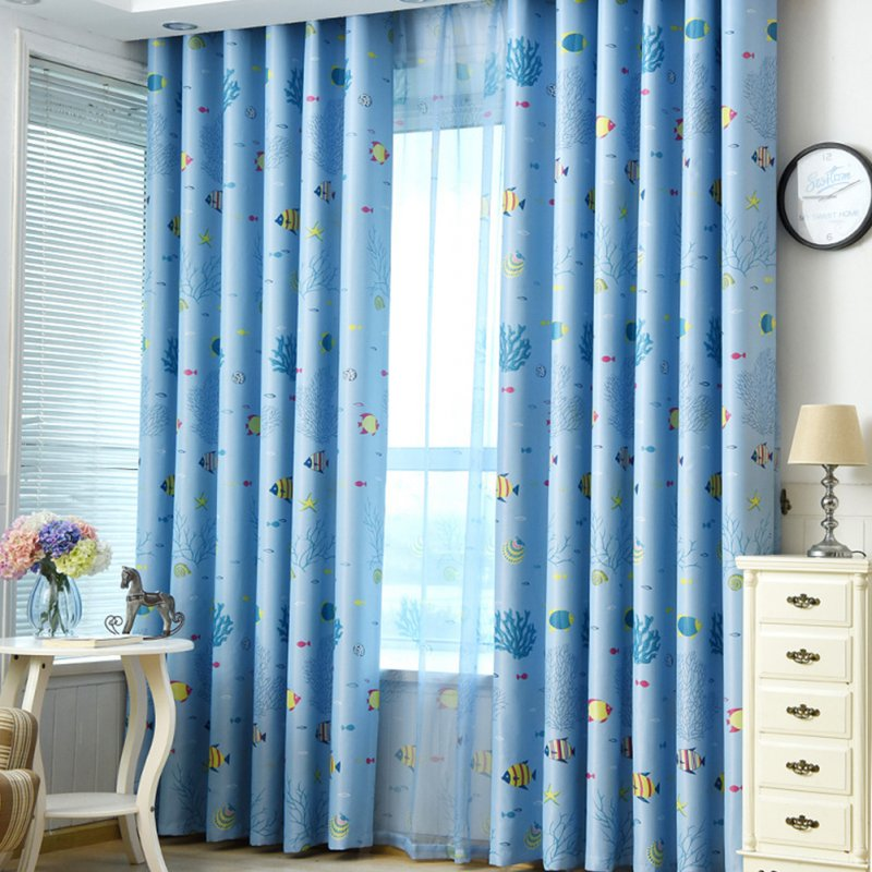 Underwater World Printing Window Curtain for Kids Room Shading Decor Blue cloth_1 meter wide x 2.7 meters high