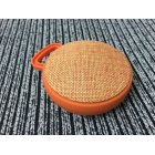 Unique Chic Circular Fabric Art Speaker Wireless Bluetooth Portable Hook Subwoofer  Orange