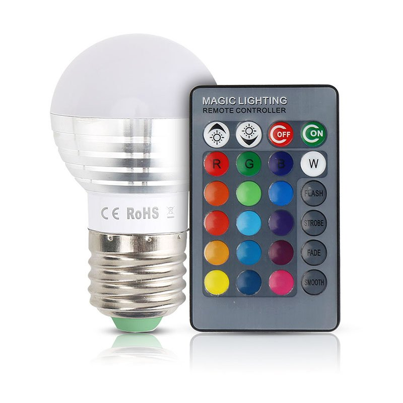 Unique Colorful Changeable RGB LED Spotlight Bulb Christmas Decor Light Lamp with IR Remote Controller