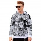Unisex 3D Casual Digital Printing Fashion Pattern Long Sleeve Hooded Shirt Sweatshirts W style L