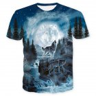 Unisex 3D Digital Printed Snow Wolf Pattern Short-sleeved Shirt as shown_M
