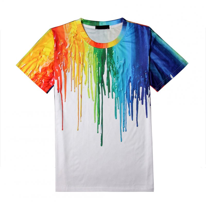 Unisex 3D Digital Printing Colorful Pigment Printing T-shirt  white_L