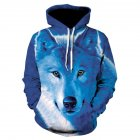 Unisex 3D Print Wolf Hoodie Cool Casual Long Sleeve Hooded Pullover Sweatshirt Top