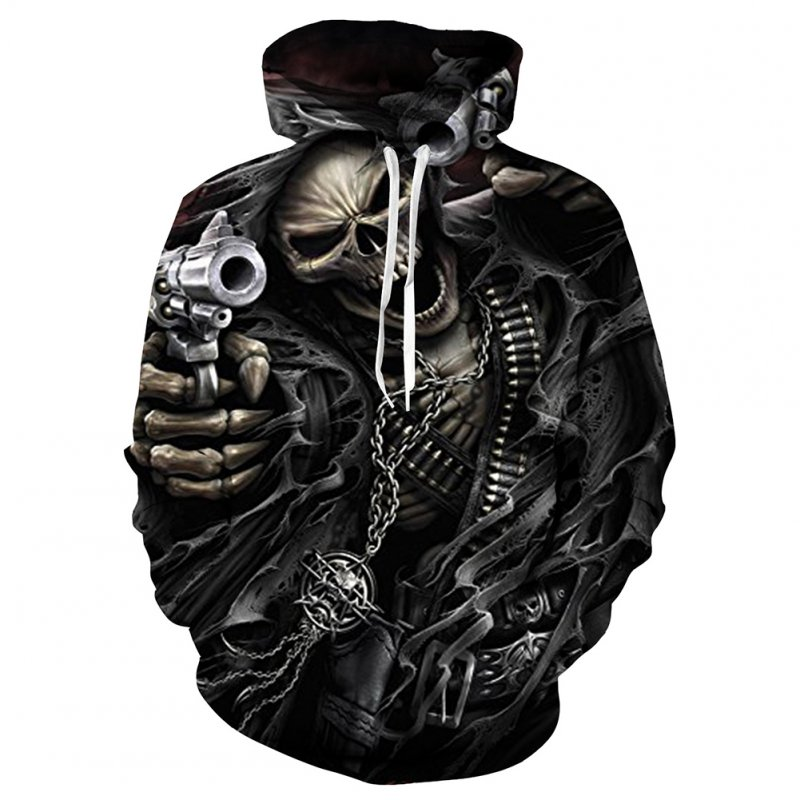 Unisex 3D Vivid Color Skeleton Fingers Fashion Hooded Tops Baseball Sweatshirts as shown_L