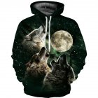 Unisex 3D Vivid Wolf Howl Printed Fashion Hooded Tops Baseball Sweatshirts as shown_XL