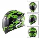 Unisex Advanced Double Lens Flip-up Motorcycle Helmet Off-road Safety Helmet Green with Tea lens_XL