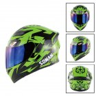 Unisex Advanced Double Lens Flip-up Motorcycle Helmet Off-road Safety Helmet green with blue lens_XXL