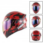 Unisex Advanced Double Lens Flip-up Motorcycle Helmet Off-road Safety Helmet red with colorful lens_L