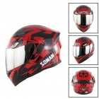 Unisex Advanced Double Lens Flip-up Motorcycle Helmet Off-road Safety Helmet red with silver lens_XXL