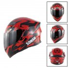 Unisex Advanced Double Lens Flip-up Motorcycle Helmet Off-road Safety Helmet red with tea lens_XXL