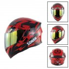 Unisex Advanced Double Lens Flip-up Motorcycle Helmet Off-road Safety Helmet red with gold lens_M